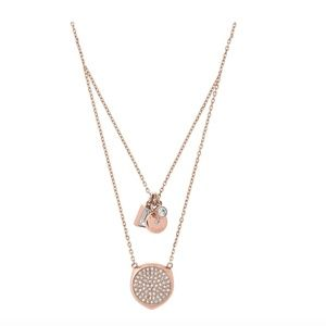 MICHAEL KORS ROSE GOLD TONE PAVE LAYER NECKLACE